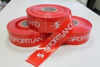 Varoitusnauha logolla Sportland